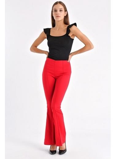 Jument Ön Arka Dikişli Ispanyol Paça Tayt Pantolon -Mint Kırmızı